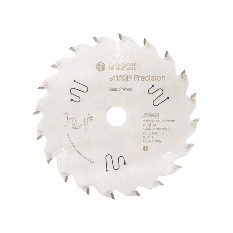 BOSCH Pílový list do okružnej píly Top Precision Best for Wood 165/20/ 1,8:1,3 20 zubov