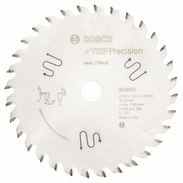 BOSCH Pílový list do okružnej píly Top Precision Best for Wood 165/20/ 1,8:1,3 32 zubov
