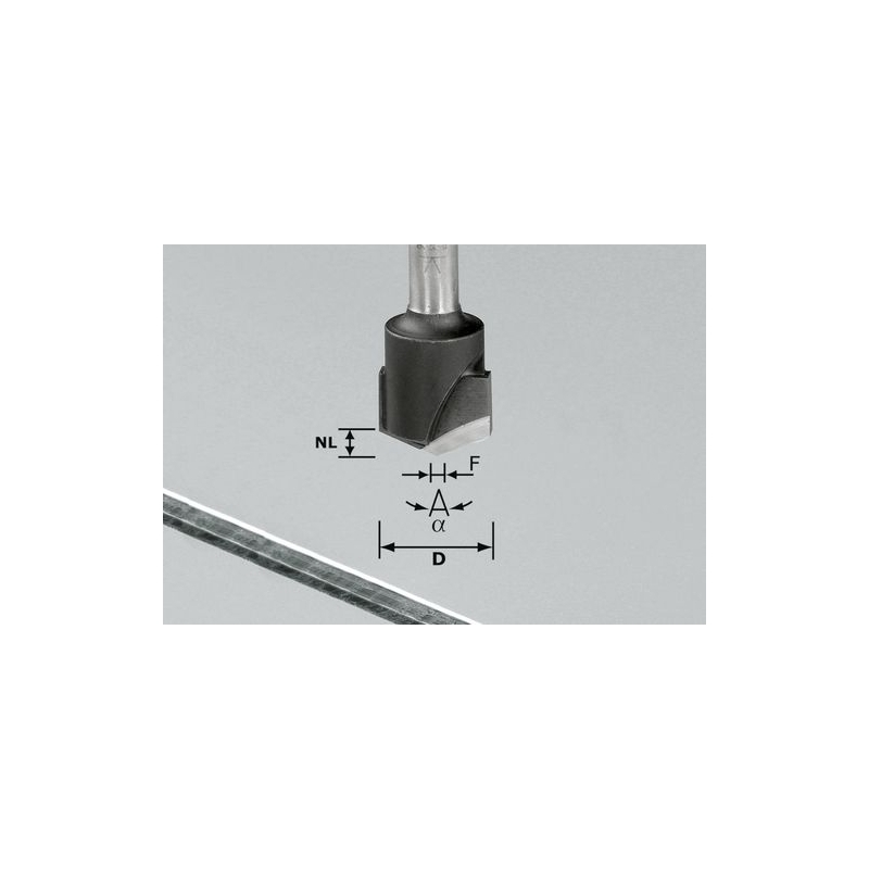 Festool Drážkovacia fréza tvaru V HW S8 D18-135°/Alu