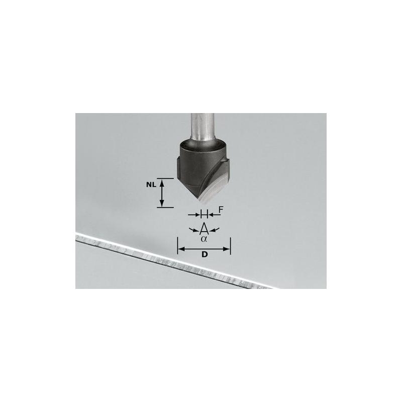 Festool Drážkovacia fréza tvaru V HW S8 D18-90°/Alu